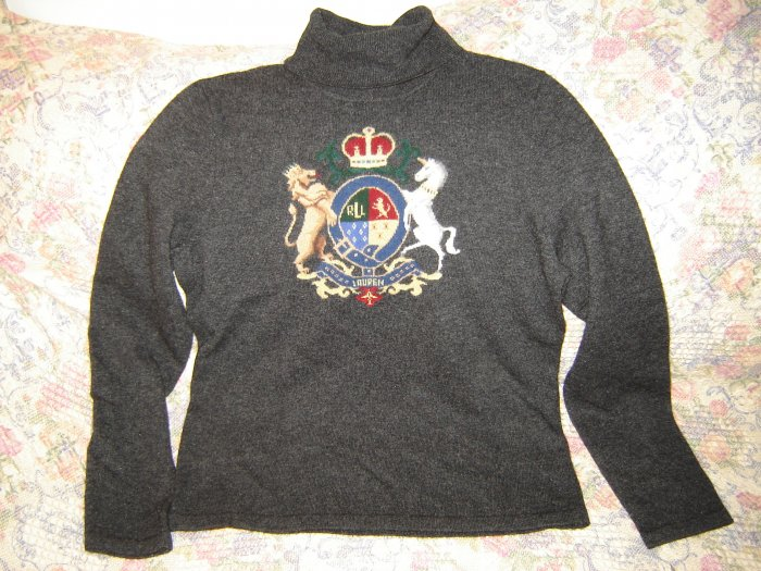 Womens Ralph Lauren Large Crest Coat of Arms Gray Turtleneck Sweater M