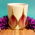 """*NEW* Gold & Red """"THREADED"""" Dangle Drop Earrings"""