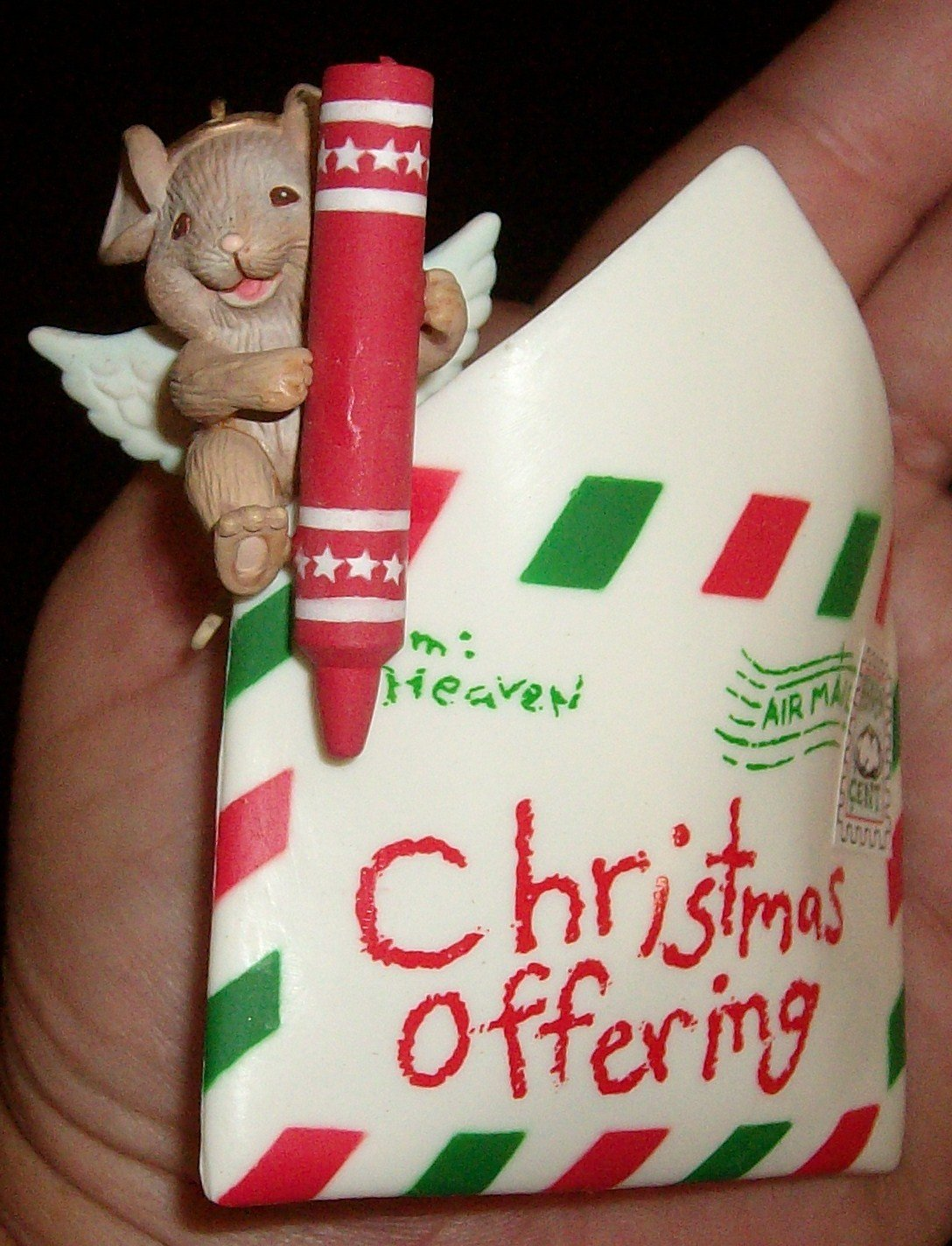 1992 Enesco Angel Mouse Heaven Sent Christmas Ornament
