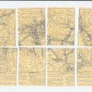 Santa Fe Railway Map 8 part ACEO 1914 RR