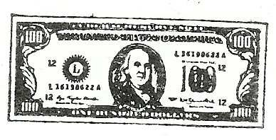 100 Dollar Bill rubber stamp old style