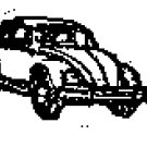 VW Volkswagen 3/4 view Bug Beetle car rubber stamp