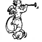 Cupid with Trumpet rubber stamp
