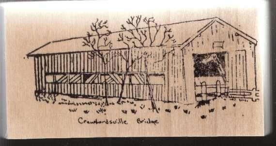 Crawfordsville Covered Bridge Oregon Rubber Stamp Original COA