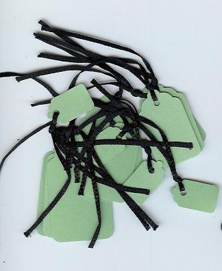 Green tags Black strings 1 Dozen 3 sizes