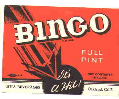 Bingo Vintage soda Label It's a HIT! 16 oz MINT