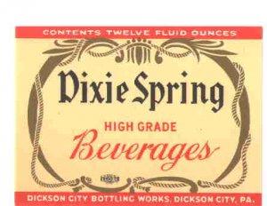 Dixie Spring Beverage vintage soda label 12 oz MINT union made