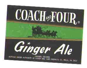Coach and Four Ginger Ale  vintage soda label MINT