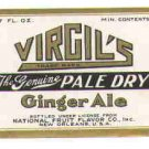 Virgil's Ginger Ale vintage soda label 7 oz MINT