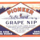 Pioneer Grape NIP  vintage soda label MINT Davenport Washington
