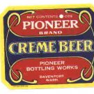 Pioneer Creme Beer vintage soda label  oz MINT Davenport Wash