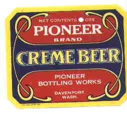 Pioneer Creme Beer vintage soda label  oz MINT Davenport Wash
