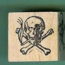 Smoking Skull and Crossed Bones Rubber stamp