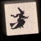 Witch riding Broom Silouette rubber stamp Halloween free shipping