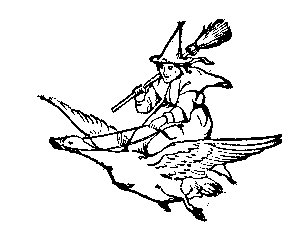 Witch riding on a Goose Halloween or storybook ? Rubber stamp