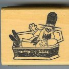 Goofy Vampire in Coffin Halloween rubber stamp