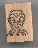 Devil Head Halloween rubber stamp made in USA