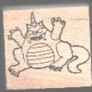 Horned Monster Halloween rubber stamp