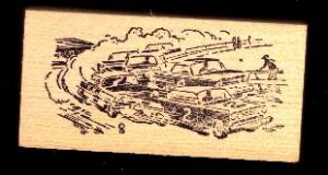 Vintage race Cars racing on dirt track #2 car made in USA