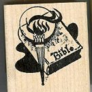 Bible with Torch flame  rubber stamp faith