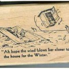 Hillbillys Watching flying Outhouse Comic Rubber stamp