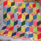 Primary Blocks HandQuilted Pieced Baby Quilt Dick Jane Heirloom quality Made USA