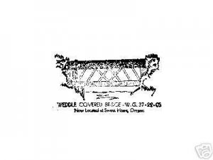 Weddle Covered Bridge Oregon  rubber stamp signed small