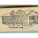 Crawfordsville Covered Bridge Oregon rubber stamp signe