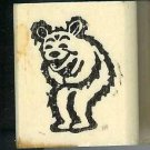 Bear Laughing Holding belly rubber stamp