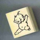 Kewpie jumping  rubber stamp
