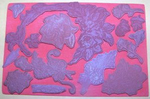 16 Rubber stamp unmounted on foam flowers trees roses etc