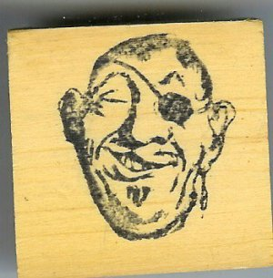 Pirate Head aye matey  Comic Rubber stamp