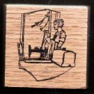 1920's era vintage  sewing scene Machine Lady  Rubber Stamp