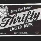 Thrifty Lager Beer Label  12oz.