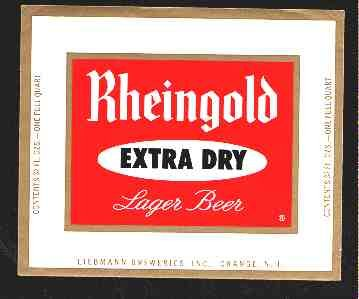 Rheingold Extra Dry Lager Beer Label 32oz.