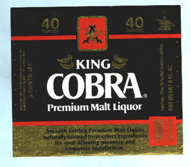 King Cobra Malt Liquor Label 40oz.