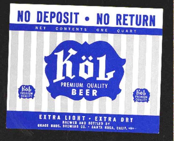 Kol Premium Beer Label 32oz.