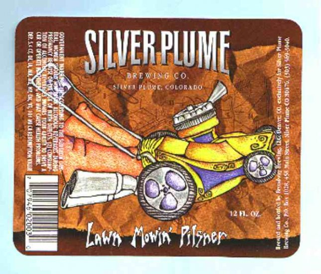 SILVER PLUME  Lawn Mowin Pilsner Beer Label 12oz