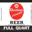 DAVIDSON'S Premium Beer Label 32oz.