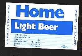 HOME Light Beer Label 12oz.