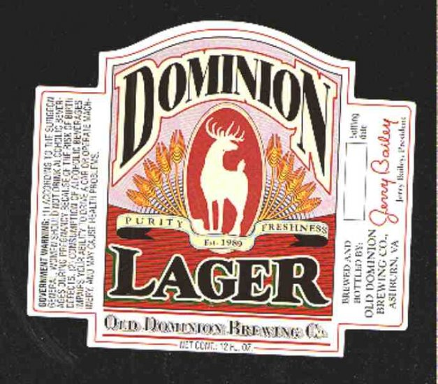 DOMINION Lager Beer Label