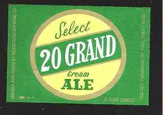 20 GRAND Cream Ale Label 12oz.