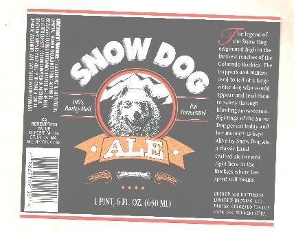 SNOW DOG Ale Label / 1 Pint 6oz.