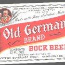OLD GERMAN Bock Beer Label  IRTP /12oz