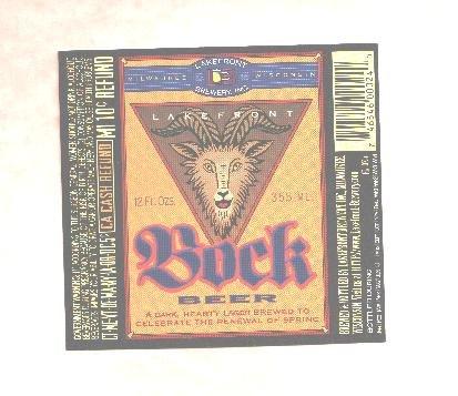 LAKEFRONT Bock Beer Label / 12oz