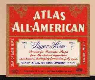 ATLAS ALL-AMERICAN IRTP Beer Label /12oz