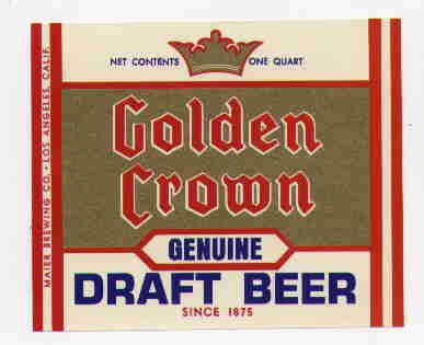 GOLDEN CROWNDraft Beer Label / 32oz