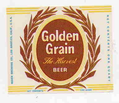 GOLDEN GRAIN The Harvest Beer Label 32oz.