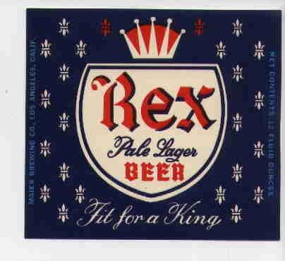 REX Pale Lager Beer Label /12oz
