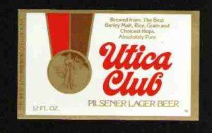 UTICA CLUB Pilsener Lager Beer Label / 12oz